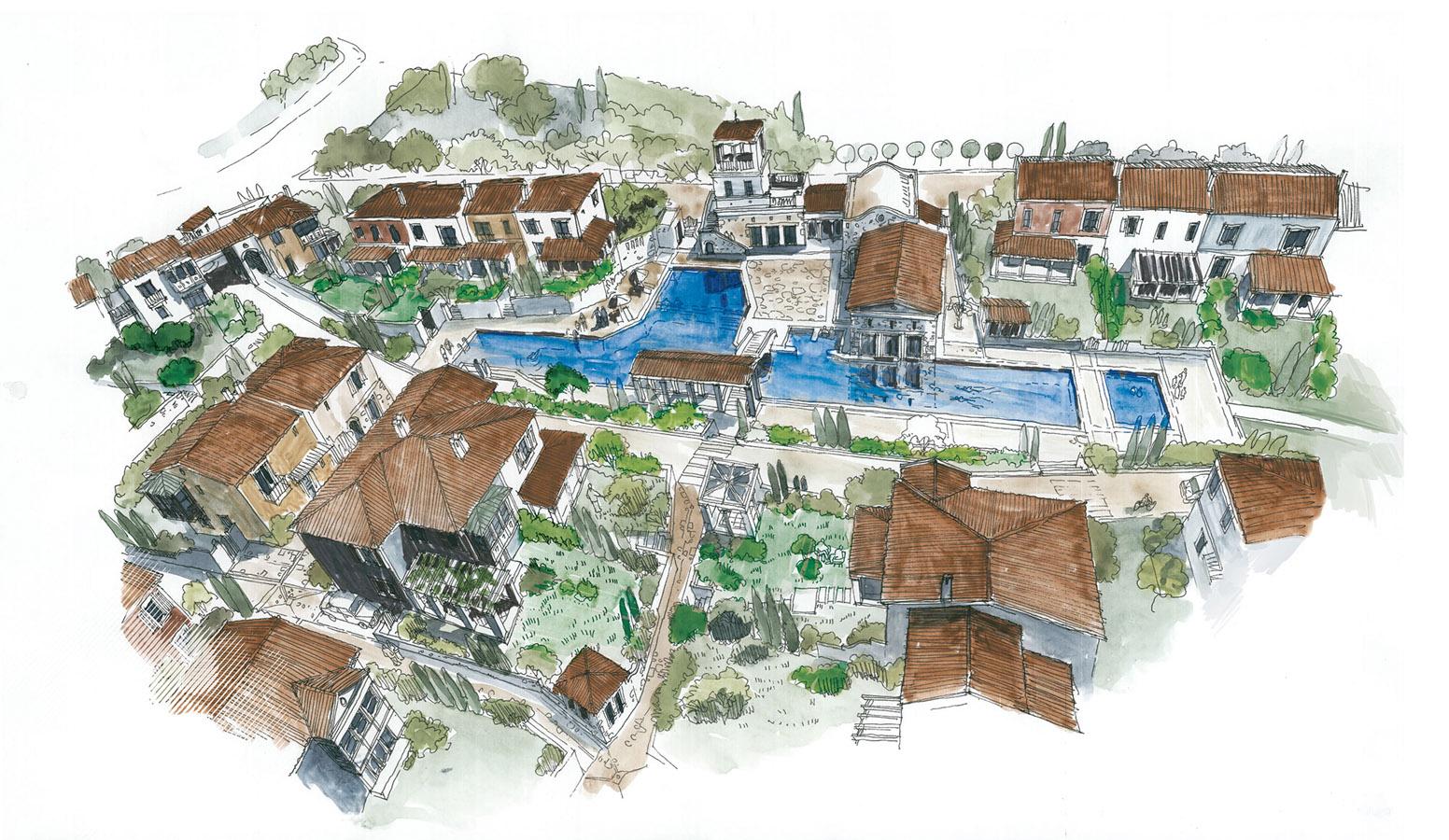 Mi'Marin Köyce Alaçatı 3D Kuşbakışı