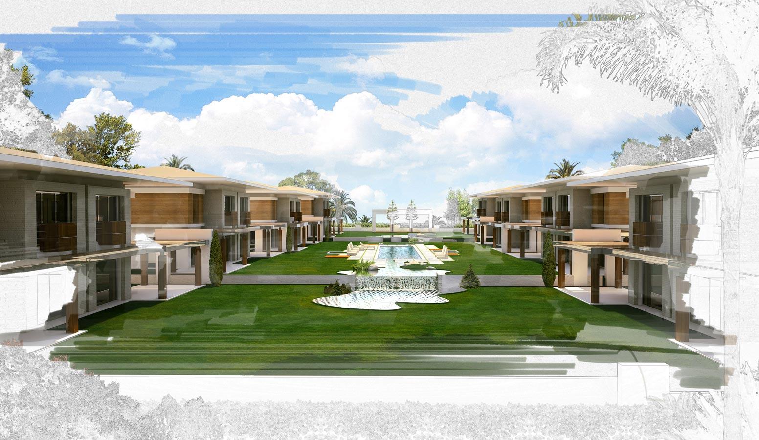 Mi'Marin Paşalimanı Villaları 3D Bahçe Görünüm